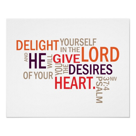 "Psalm 37:4 ""Desires of Your Heart"" Subway Art Poster"