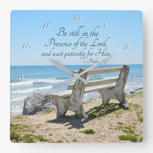 Psalm 37:7 Be still in the Presence of the Lord, Square Wall Clock