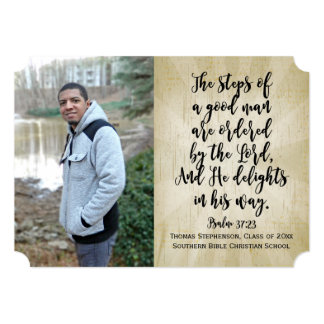 Psalm 37 Christian Bible Verse Photo Graduation Card