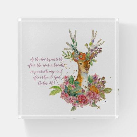 Psalm 42:1 Elegant Floral Deer Paperweight