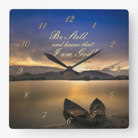 Psalm 46:10 Be Still and Know that I Am God Bible Square Wall Clock
