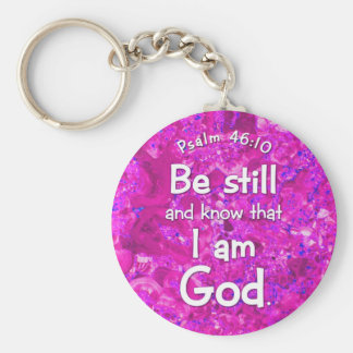 Psalm 46:10 Be Still & Know Pink Bible Verse Quote Basic Round Button Keychain