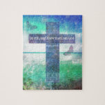 "Psalm 46:10  Encouraging Bible Verse Jigsaw Puzzle<br><div class=""desc"">Psalm 46:10  Be still,  and know that I am God: I will be exalted among the heathen,  I will be exalted in the earth. Bible Quote with modern,  colorful deep BLUES AND PURPLES Cross abstract painting. Inspirational,  Contemporary Christian  Art.</div>"
