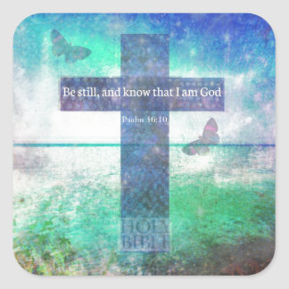 Psalm 46:10  Encouraging Bible Verse Square Sticker