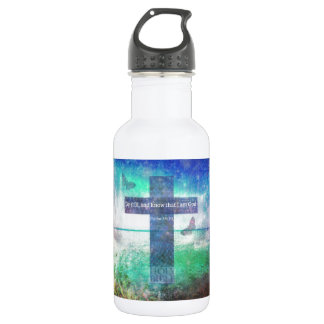 Psalm 46:10  Encouraging Bible Verse Stainless Steel Water Bottle