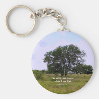 Psalm 46:10 Inspirational Bible Quote Basic Round Button Keychain