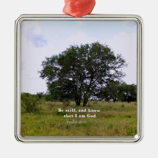 Psalm 46:10 Inspirational Bible Quote Square Metal Christmas Ornament