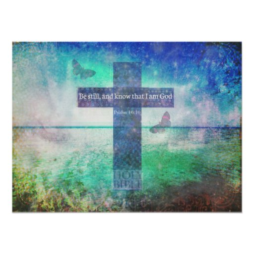 Psalm 46:10 Positive Bible Verse Poster