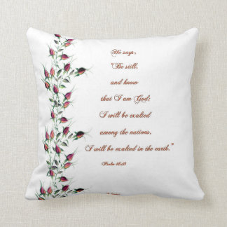 Psalm 46:10 Red Rose Buds Pillow