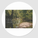 """Psalm 46:10 with image titled """"SERENITY'S EYE"""" Round Stickers"""