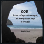 "Psalm 46:1 God is our refuge and strength... Napkin<br><div class=""desc"">Unique view of the Ocean,  looking out through a cave in Oceanside,  Oregon.  Bible Verse of comfort is: God is our refuge and strength,  an ever present help in trouble. Psalm 46:1&quot;</div>"