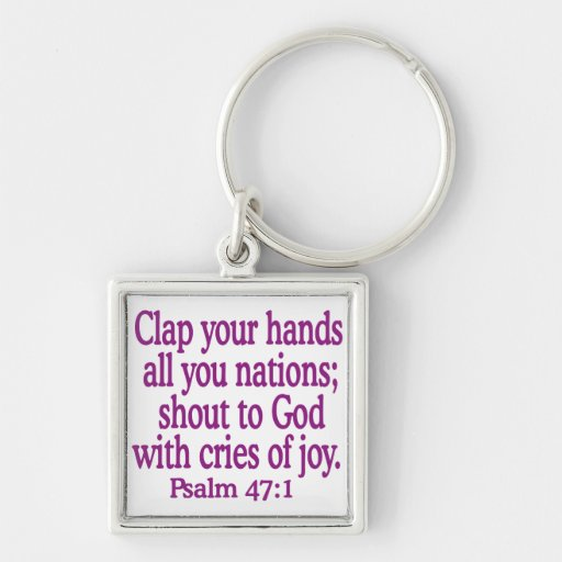 Psalm-47-1 Llavero Cuadrado Plateado
