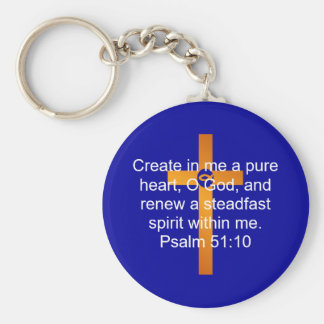 Psalm 51:10 basic round button keychain