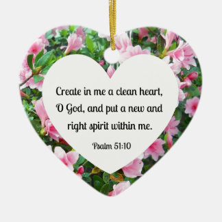 Psalm 51:10 Create in me a clean heart... Double-Sided Heart Ceramic Christmas Ornament