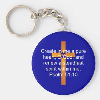 Psalm 51:10 keychain