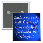 Psalm 51:10 pinback buttons