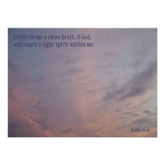 Psalm 51:10 Poster Pink Clouds on Blue Sky