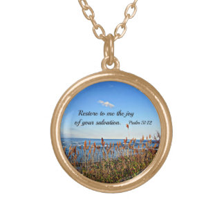 Psalm 51:12 gold plated necklace