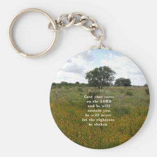 Psalm 55.22 basic round button keychain