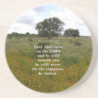 Psalm 55.22 beverage coaster