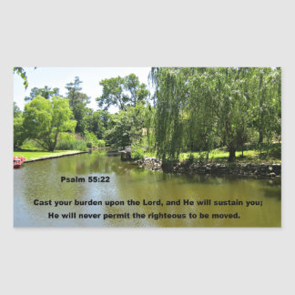 Psalm 55:22 Cast your burden upon the Lord... Rectangular Sticker