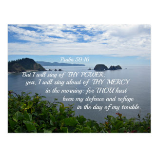 Psalm 59:16 But I will sing of thy power; Postcard