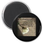 Psalm 59:16 White Rose 2 Inch Round Magnet