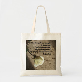 Psalm 59:16 White Rose Tote Bag