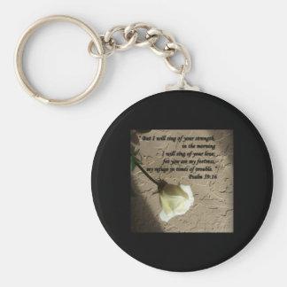 Psalm 59:16 White Rose Keychain