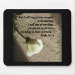 Psalm 59:16 White Rose Mouse Pad