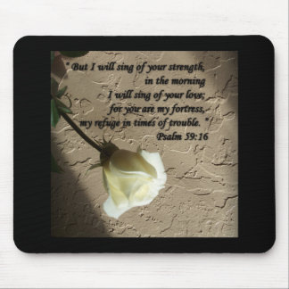 Psalm 59:16 White Rose Mousepads