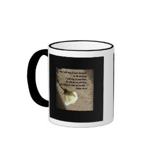 Psalm 59:16 White Rose Coffee Mug
