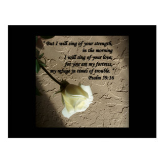 Psalm 59:16 White Rose Postcard