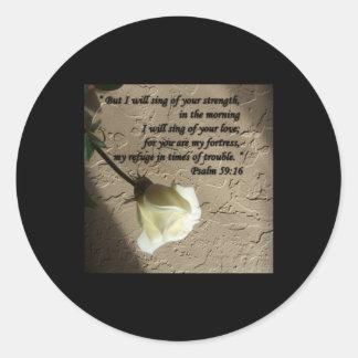 Psalm 59:16 White Rose Round Sticker
