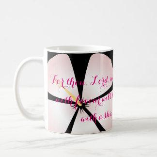 Psalm 5:12 Pink / White Hibiscus Mug Bible Verse