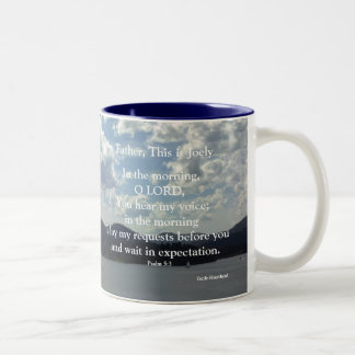 Psalm 5:3, customized for Joel Two-Tone Coffee Mug