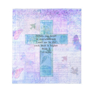 Psalm 61:2 Beautiful Bible verse & Christian art Note Pad