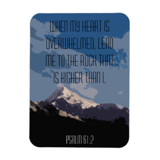 Psalm 61:2 Bible Verse Quote Mountain Graphic Magnet