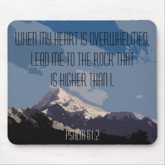 Psalm 61:2 Bible Verse Quote Mountain Graphic Mouse Pad