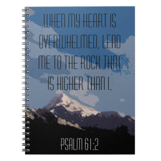 Psalm 61:2 Bible Verse Quote Mountain Graphic Notebook
