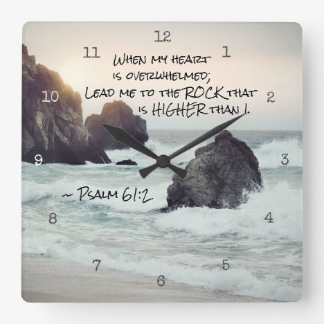Psalm 61:2 Lead me to the Rock that is Higher Square Wall Clock
