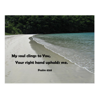 Psalm 63:8 My soul clings to You; Your right hand Postcard
