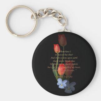 Psalm 73: 25-26 Tulips Basic Round Button Keychain