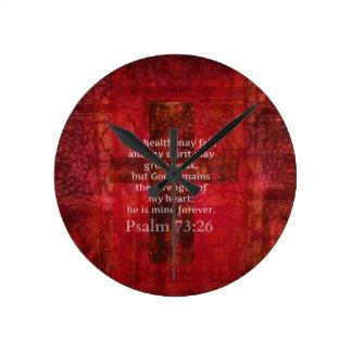 Psalm 73:26 Inspirational BIBLE verse Round Clock