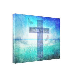 Psalm 73:26 with beautiful Christian Cross  art Canvas Print