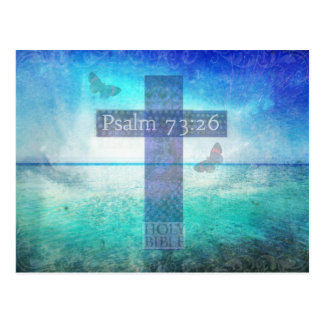 Psalm 73:26  with inspirational contemporary Cross Postcard