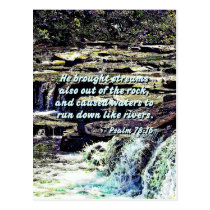 Psalm 78-16 - He Brought Streams ... Postcard