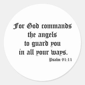 Psalm 91:11 classic round sticker