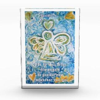 Psalm 91:11 Guardian Angel Art Custom Paperweight Acrylic Award