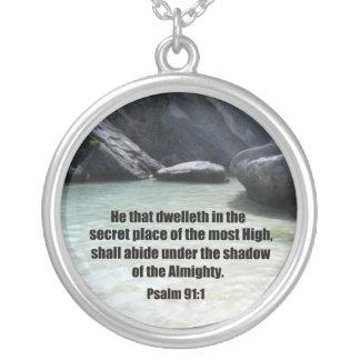 Psalm 91:1 round pendant necklace